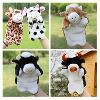Wholesale Cattle Bull - Wholesale- New Arrival Animal Hand Puppet Plush Puppets Cow Bull Bighorn Cattle Dolls Best Gift Toys For Baby Brinquedo Marionetes Fantoche