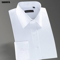 Vente en gros SAROUYA XW103 2017 New Slim Fit Stylish Twill Solid Robe d'honneur manches longues White Social Top Quality Wedding Male Clothing