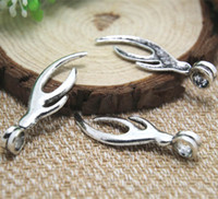 Wholesale Antler Charms - 10PCS Deer Antlers pendants--Antique Tibetan silver Deer Antlers Charms Pendant 45x14mm