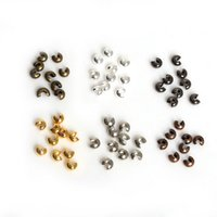 Wholesale gold crimps - High Quality! 100PCs Silver Gold Gunmetal Rhodium Bronze Copper Plated Alloy Crimp Beads Round Covers 3mm x3mm