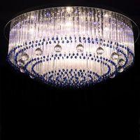 Wholesale modern glass ceiling lights - Sapphire led crystal lamp round glass barswarovski crystals ceiling lighting E14 110v 220v living room bedroom studying room lamp