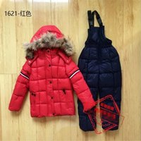 Wholesale 2016 childrens new clothing sets skii coats snow jackets and pants kids down jacket suits with fur hooded plain color brand luxury design