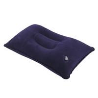 venda de travesseiros ao ar livre venda por atacado-Venda quente Ao Ar Livre Portátil Dobrável Ar Dupla Face Reunindo Almofada Almofada Inflável para o Hotel de Avião de Viagem