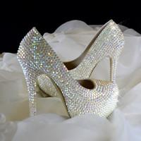Wholesale Diamond Shoes Flash - Super Flash Diamond Crystal Wedding Shoes New Stunning Flashing Diamond High-Heeled Bride Shoes Wedding Shoes