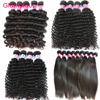 Wholesale Malaysian Remy Straight Hair 4pcs - Glamorous Human Hair Extensions 4pcs Mixed Length Brazilian Malaysian Indian Peruvian Virgin Hair Straight Natural Wave Deep Wave Curly Hair