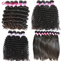 Glamorous Human Hair Extensions 4pcs Comprimento Misto Brazilian Malaysian Indian Peruvian Virgin Hair Straight Natural Wave Deep Wave Cabelo Curly