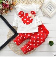 Wholesale Tutu Leggings Dots - minnie mouse clothes bow tops t shirt leggings pants baby kids 2 pcs suit new Spring Autumn children girls clothing sets