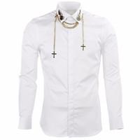 черная мужская рубашка оптовых-Wholesale-  Men's shirts  Long Sleeve Shirts Men with Chain Slim Fit Mens Dress Shirts Casual Chemise Homme Camisas Hombre Black