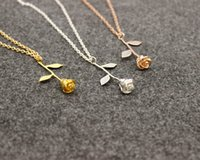 Wholesale Cheap Rose Gold Necklaces - Romantic Rose Necklace Pendant High quality alloy Gold Silver color Roses Necklace for Lovers valentine gift with chain cheap Wholesale