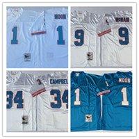 Wholesale White Campbell - Best Throwback 34 Earl Campbell Jersey Men 1 Warren Moonn 9 Steve McNair 74 Bruce Matthews Jerseys Retro Home Blue White Stitced Quality