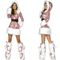 Sexy Christmas Costume Two Tone с капюшоном с длинным рукавом Slim Fit Mini Dress with Boot Covers Halloween