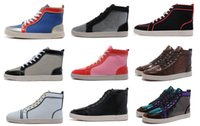 Wholesale Sole Skate - 2017 Hot selling cheap Snakeskin Red Bottom Sneakers Luxury Designer High Top Skate Sneakers Mens Womens Casual Shoes Brand Red soled shoes