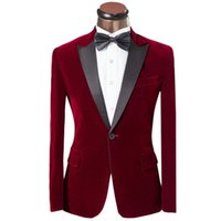 Wholesale Velvet Bow Clothes - One Button Burgundy Peak Lepal Groom Tuxedos Velvet Fabric Man Blazer Prom Clothing Dress Suits (Jacket+Pants+Bow Tie) H:476