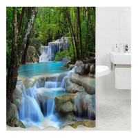 3D Waterfall Landscape Nature Scenery 200cm * 180 см Dacron Waterproof Bathroom Home Hotel Украшение Занавес для душа Классический Non-Fading Cloth