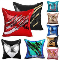 Wholesale Embroidered Pillows - Sequins Pillow Cover Mermaid Cushion Case Mermaid Sequin Pillow Case Glitter Reversible Magic Pillowslip 2 Tone Color Home Sofa Decor B2097