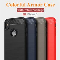 Wholesale Iphone Case Packaging Wholesale - For iPhone X 8 7 6S Plus Case Carbon Fiber Drawing Case for Samsung S8 S8Plus S7 Edge Armor Case with Retail Package