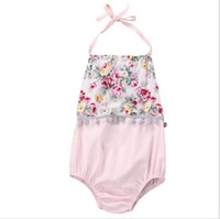 Wholesale Bodysuit New Baby - Ins 2017 Summer New Baby Girl Cute Bodysuit Floral Pompom Backless Pink Jumpsuits Toddler Clothing SH003