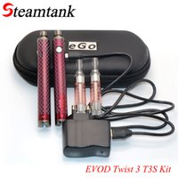 Vente en gros-Evod Twist III T3S Double Pen Kit 3ml Atomiseur 1600mah 510 Connector Vaporisateur Elektronik Sigara Kit VS Evod mt3 Ego aio Vape