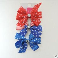 Wholesale Jewelry July - July 4th Baby Girl Barrettes Set Girls Hair Bows 4th Of July Boutique Jewelry For Girl Star Kids Hair Pins Kids Hair Accessories