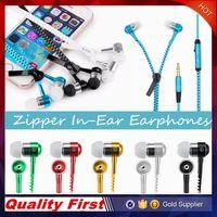 Wholesale Iphone Zipper Earphone - Zipper Earphones Headset 3.5MM Jack Bass Earbuds In-Ear Zip Earphone Headphone with MIC for Iphone 6 Plus Samsung S6 MP3 MP4 100pc