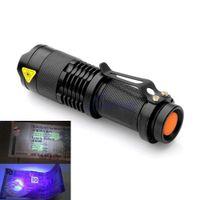 миниатюрные мини-фонари оптовых-Sanyi Mini Алюминиевый Zoomable Портативный УФ-фонарик Фиолетовый свет светодиодный фонарик УФ-фонарик
