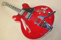 Wholesale Es Jazz Guitars - China guitar factory custom 100% New Classic Red ES 3 Jazz Guitar rock tremolo system electric Guitar free shipping 914