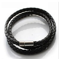 Wholesale Mens Cuffed - p2 Hot NEW Multilayer Synthetic Leather Braided Rope Bracelet Wristband Mens Cool Bangle Cuff Gift Drop Free