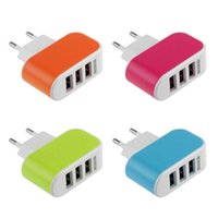 Wholesale Iphone Wall Car Eu - EU US Plug 3.1A Wall Charging Adapter For Samsung iPhone HTC Nokia LG 3 USB Port