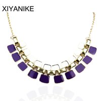 Wholesale Max Collar - Fashion Necklaces Pendants Link Chain Collar Long Plated Enamel Statement Bling Necklace Women Jewelry Max Necklace XY-N104