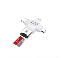 Wholesale Memory Card Reader For Iphone - 4 in 1 Type-c Lightning Micro USB USB 2.0 Memory Card Reader Micro SD Card Reader for Android Ipad iphone 7 OTG reader