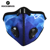 Wholesale blue gold filter - Wholesale- ROCKBROS Windproof Cycling Masks Activated Carbon Air Filter Mask Outdoor Sports MTB Mountain Road Riding Bike Face Cover K6702