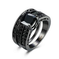 ingrosso anelli di taglio di principessa nera diamante-Moda oro 18k nero placcato nero diamante quadrato taglio principessa matrimonio fedi nuziali cerchi set di anelli per le donne signore