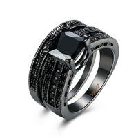 schwarze diamantprinzessin geschnittene ringe großhandel-Mode 18 karat Schwarzes Gold Überzogen Schwarzes Quadrat Diamant Princess Cut Hochzeit Verlobung Braut Bands Ring Sets für Frauen Damen
