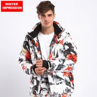 Wholesale Snowboard Jacket Down - Wholesale- Winter Impression 2017 Man Jacket Sportsman Wear Waterproof Snowboard Coat For Male Mountain Down Jacket Super Warm -30degree