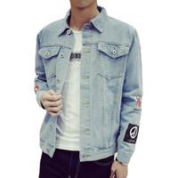 Wholesale Korean Men Outfits - Wholesale- New Fashion Men's Denim Jacket M-5XL Men Windbreaker Blue Hip Hop Casual Jeans Outfit Korean Slim Fit Mens Jackets and Coats