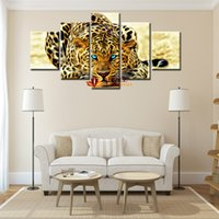 Wholesale Leopard Print Home Decor - 5 Piece Abstract Leopards Modern Home Wall Decor Wall Picture For Living Room Canvas Picture Art HD Print Painting Set of 5 Each Canvas Art
