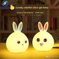 Wholesale Bunny Night Lights - Cute USB bunny LED night light Light Sensor Control Emotional grace The cute pet remote control silicon lamp Shustar