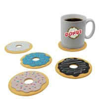 Atacado - 4Pcs / Lot Novel Cute Coasters Round Donut Coasters Drink Bottle Beer Beverage Cup Mats copo mat plástico plástico posavasos