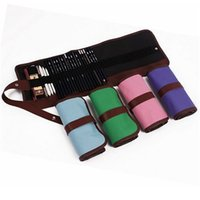 Wholesale Cosmetic Brushes Roll Up Bag - Wholesale-48 Holders Colorful Canvas Roll Up Pencil Case Brush Holder Girl Women Cosmetic Makeup Portable Pouch Pockets School Supplies