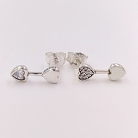Wholesale white gold heart studs for sale - Group buy Authentic Sterling Silver Studs Hearts Of Love Stud Earrings Fits European Pandora Style Studs Jewelry CZ