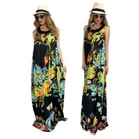 Wholesale Ladies Halter Dresses - 2018 Summer Beach Long Dress New Print Sleeveless O Neck Casual Plus Size Women Maxi Dress Sexy Ladies Boho Dresses