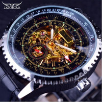 Wholesale Golden Movement - Jaragar Calibration Dial Display Golden Movement Inside Transparent Case Mens Watch Top Brand Luxury Male Wrist Watch Automatic