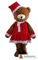 Wholesale Mascotte Teddy Bear - 3051 Brown Teddy Bear with Christmas Dress mascot costume party costumes Fur mascotte made
