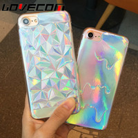 Wholesale Pastel Cases - Luxury Bright Hologram Iridescent Triangle Pastel Melting Soft TPU Phone Back Cover Phone Case For iPhone 5 5S SE 6 6S 7 Plus