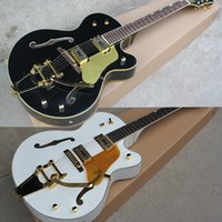 Wholesale Electric Guitar Hollow Body Gold - Hot Sale Factory Custom Semi-hollow White and Black Electric Guitar with Maple Body,Rosewood Fingerboard,Gold Hardware,Can be Customized