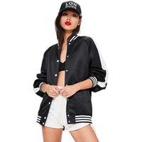 Wholesale Biker Jacket Black Women - 2017081425 Hip Hop Streetwear Baseball Jacket Black White Color Block Tie Back Biker Jacket Street Style Letter Print Jacket