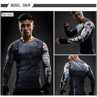 Wholesale Man S Gold Cross - Luxury Brand 3D Print Men's T-Shirt Winter Soldier Compression Long Sleeve T-Shirt Super Hero 3 Lycra Tight Sports Cross Shirt I feel like
