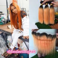Wholesale Orange Hair Weave - Ombre orange 13x4 Lace Frontal Closure With Two Tone Soft Virgin Human Hair straight Bundles dark roots 1b orange hair