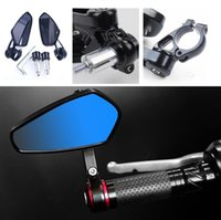 "Wholesale Motorcycle Rear View - 1 Pair 7 8"" 22mm Motorcycle Rear View Black Handle Bar End Side Rearview Mirrors"