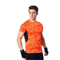 Wholesale exercise tight short for sale - Group buy Spring and summer outdoor sports men short sleeved T shirt almost dry tight squeeze running physical exercise clothess
